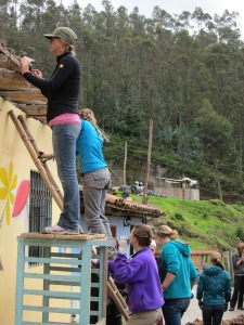 Brianne's group works on the community center in Agualongo