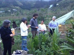 Cristina teaches the gardener volunteers about local plants