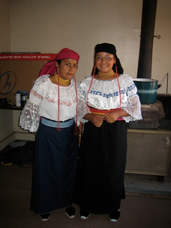 Dressing Hopi friends in Otavaleña traditional dress
