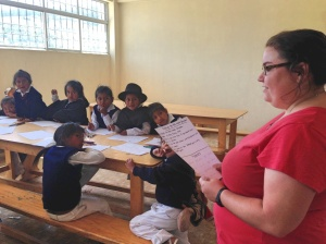 One of the volunteers teaching English.