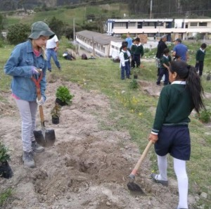 planting ornamentals at the Quichinche school