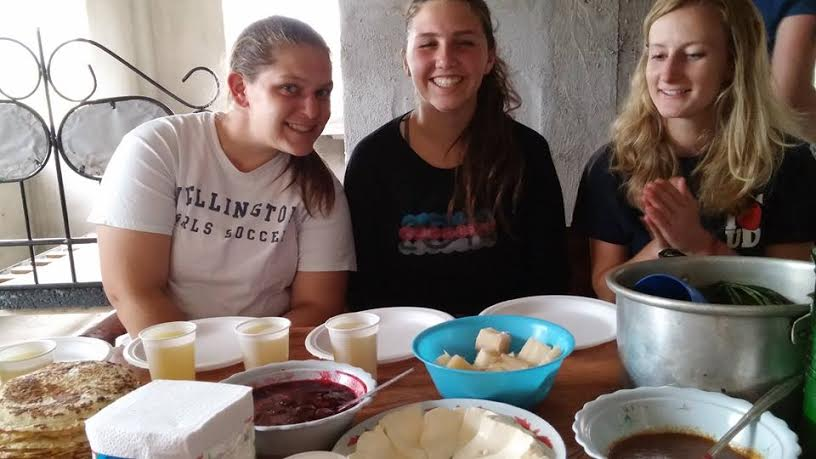 Cassie( left) hanging out with two other trip participants in Ecuador
