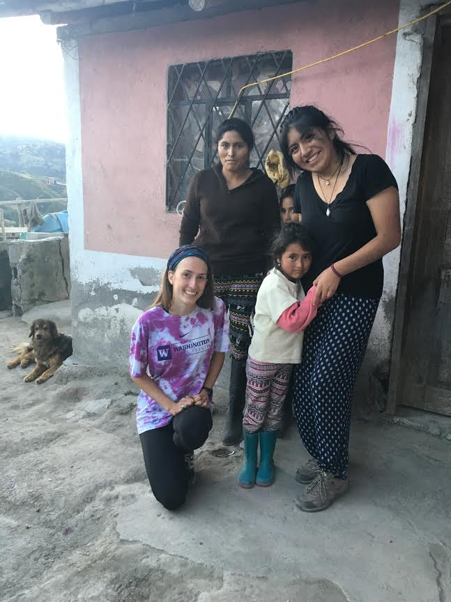 Jessica (standing on the right) with her host family and another TSC volunteer