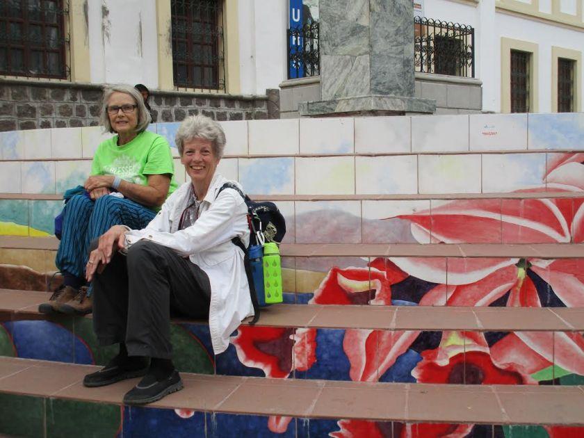 Janet Lasley (in green) with Hope Taft in Ecuador
