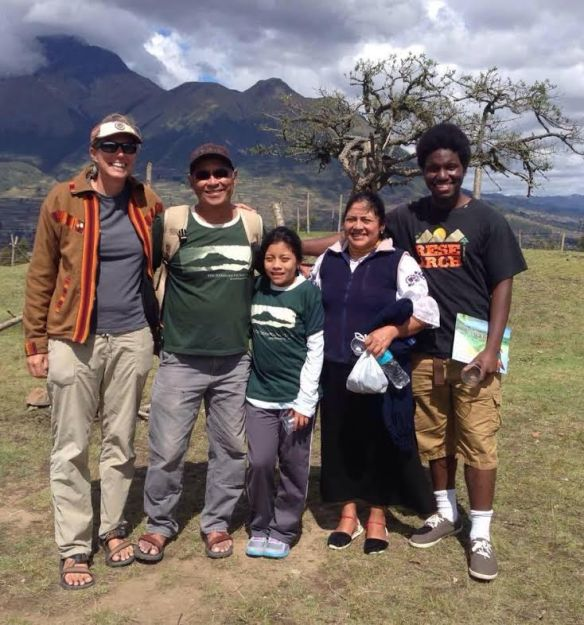 Timothy( far right in black) with Tandana friends and staff members in Ecuador