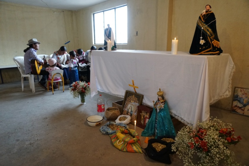 a mass held inside the community center